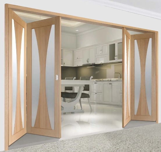 Cửa gỗ xếp trượt tự động đóng mở uy tín, chất lượng cao